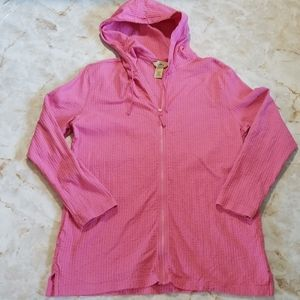 L.L. Bean Peruvian Cotton Pink Full Zip Hoodie